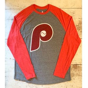 Philadelphia Phillies Gray/Red Long Slv Raglan Tee